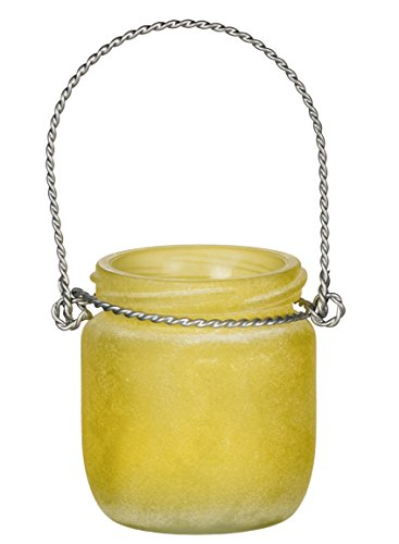 Sullivans Frosted Small Jar with Handle Vase Glass Yellow Home Accessories