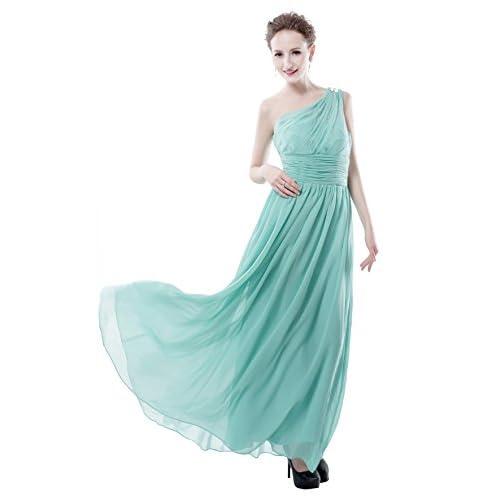 Cheap EDMOC Women's One Shoulder Beaded Chiffon Party Prom Bridesmaid Dress free shipping