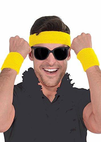 Athlete Sweatband Kit - Set of 1 Headband and 2 Wristbands, Cotton, Yellow ()