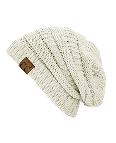 C.C Trendy Warm Chunky Soft Stretch Cable Knit Beanie Skully, Ivory (Best Beanie For Small Head)