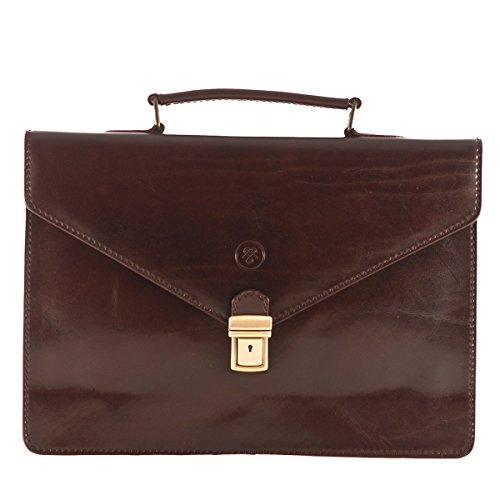 Maxwell Scott Mens Luxury Brown Small Leather Briefcase (The Lorenzo)