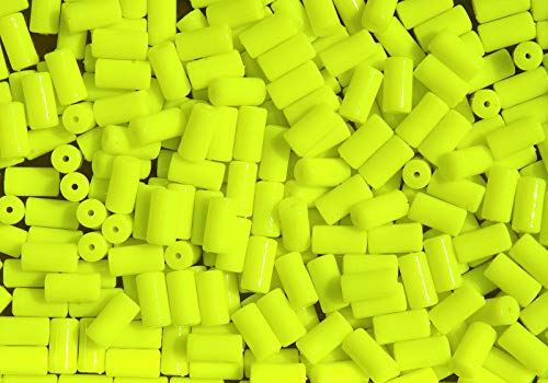 100pc NEON Yellow Tube Beads for Bird Toys Crafts Rave Jewel