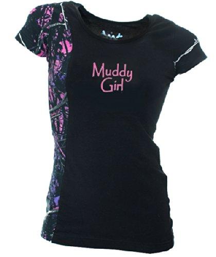 Moon Shine Attitude Attire Muddy Girl Camo Edge Black Short Sleeve - XXX-Large, Black