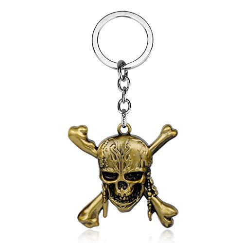 Algol - Pirates of the Caribbean Keychain Captain Jack Sparrow Mask Skull and Crossbones Zinc Alloy Key Chain