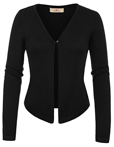 Fr793 Pull KARIN GRACE Casual Chandail Gilet Noir Manche V Tricot Cardigan Femme longue Col Cardigans aBBO4SRqw