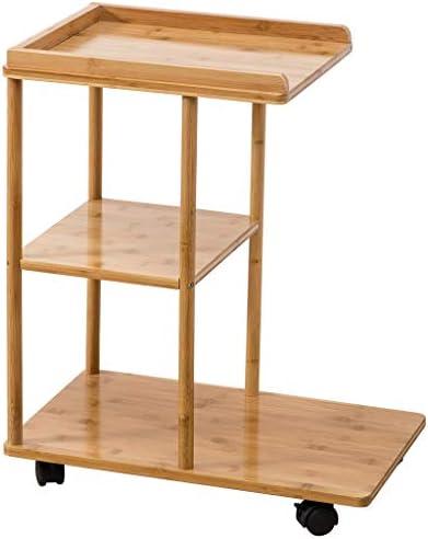 100% Origineel Mujin Bijzettafel van bamboe, salontafel met wiel, 3-laags geheugen, theetafel, woonkamer, balkon, kleine woning, sofa, 50 x 31,5 x 60,5 cm  SQlqYGy
