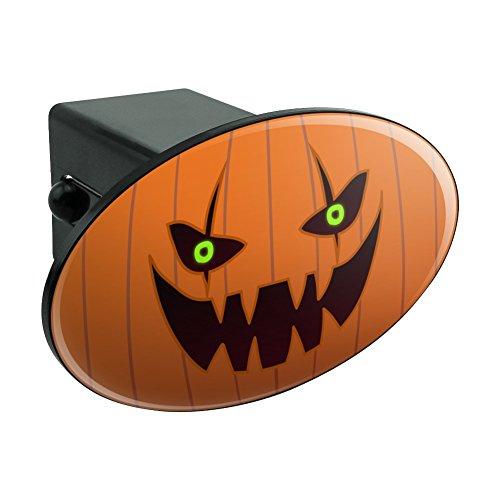 Jack-o'-lantern Pumpkin Face Halloween Decoration Oval Tow Hitch Cover Trailer Plug Insert 2