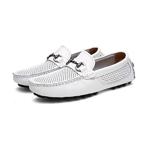 Holgazanes Cómodos Deslizamiento Zapatos Yaxuan Cuero Mocasines De Primavera Y Blanco Conducción Hombre Respirables Verano wC7ZwvcnqR