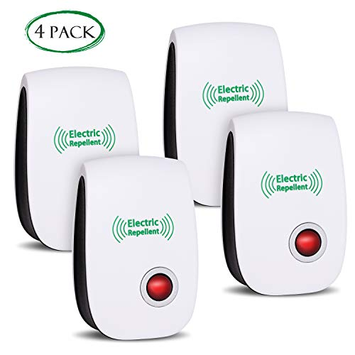 2019 Newest Pest Control Ultrasonic Repellent Electronic Repeller Indoor Plug in Mosquito Control for Bugs and Insects Mice Ant Mosquito Spider Rodent Roach, Child and Pets Safe Control (4 Packs)
