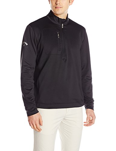 Callaway Men's Golf Tundra Long Sleeve 1/4 Zip Stretch Pullover, Black, X-Large