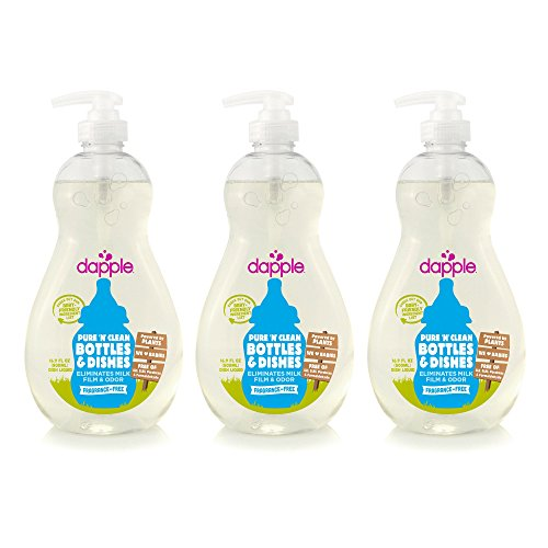 DAPPLE Baby Bottle and Dish Liquid, Fragrance Free Liquid Soap, Baby Dish Soap, Baby Dish Liquid, Bottle and Dish Liquid Cleaner, Plant-Based Formula, 16.9 Fluid Ounces (Pack of 3)
