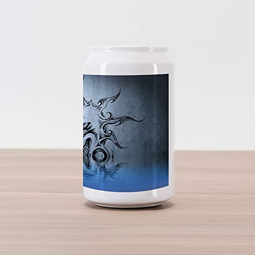 (Lunarable Tattoo Cola Can Shape Piggy Bank, Sun with Poker Sinister Face Character Fictional Evil Reflection on The Water World, Ceramic Cola Shaped Coin Box Money Bank for Cash Saving,)
