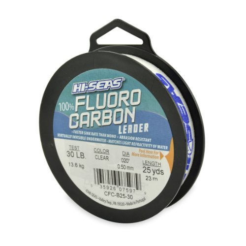 Hi-Seas 100% Fluorocarbon Leader, Clear, 30 Pound Test, 25-Yard