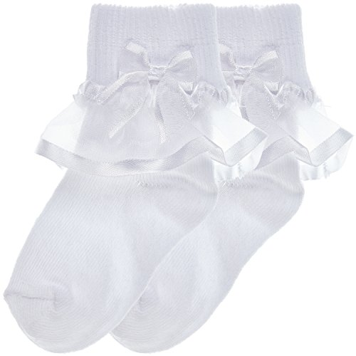 Trimfit Baby Girls Sheer Ribbon & Bow Turn Cuff Socks White (3-5 Years) L White