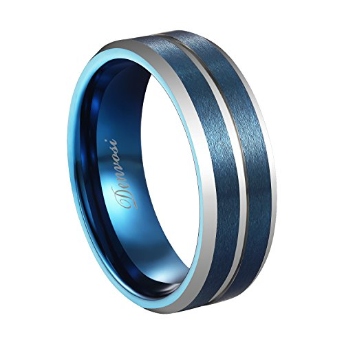 Denvosi Elegance Tungsten Carbide Ring for Men 8mm Matte Brushed Blue Surface Inlaid Silver Line High Polished Navy Inner Face Wedding Band Anniversary Party Ring Comfort Fit Size 7.5