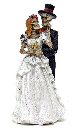 [Wedding Dance Love Never Dies Eternal Skeleton Couple Figurine Sculpture Dias De Los Muertos Day of the Dead] (Halloween Decor For Home)