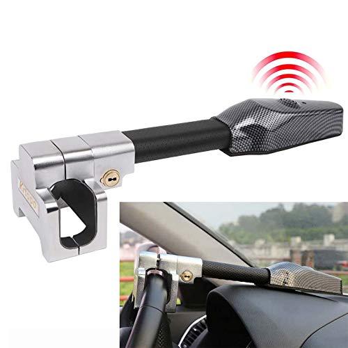 Krtopo Autostuurslot met Alarm Auto Antidiefstal Vergrendelingssleutels Beveiliging T-slot Zwart