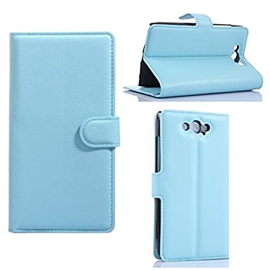 Fettion Motorola Droid Turbo (Only Fit Ballistic Nylon) Case , Premium Leather Wallet [ Flip Bracket ] Case Cover with Stand Card Holder for Moto Droid Turbo XT1225 , Moto Maxx (Wallet - Sky Blue)