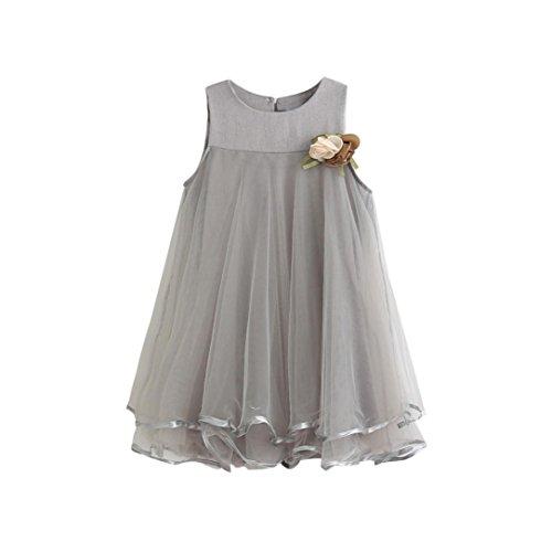 Princess Dress, METFIT Toddler Girl Chiffon Dresses Sleeveless Drape Dress + Brooch Sets Summer 2017 NEW (100, (Chiffon Girls Dresses)
