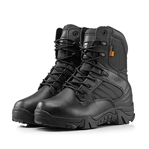 wuqinqing Delta Military Tactical Boots Fashion Leather Desert Outdoor Combat Army Boots Hiking Comfortable Shoes Travel Botas Male Trekking(9,Black)