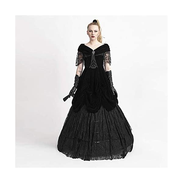Punk Rave Gothic Black Sexy Deep V-Neck Velveteen Long Dress Steampunk Off Shoulder Lace Party Dresses 4
