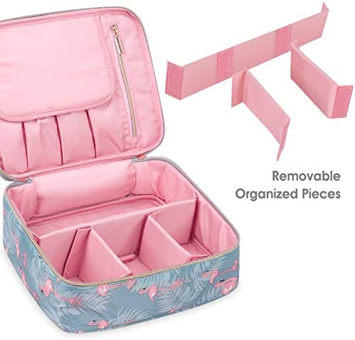 Travel Makeup Bag Large Cosmetic Bag Makeup Case Organizer for Women and Girls (Flamingo) 6