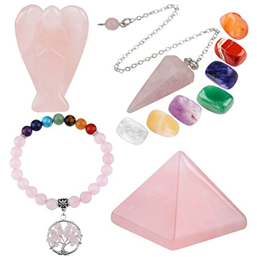 mookaitedecor Rose Quartz Healing Crystals Set, 7 Chakra Bracelet, Palm Stones, Pendulum, Pocket Guardian Angel, Pyramid Meditation Kits for Reiki,Balancing ()