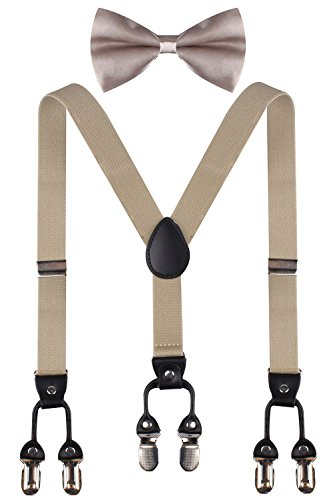 CEAJOO khaki suspenders for boys kids bow ties khaki bowtie and suspenders Khaki (Website Ideas For Kids)