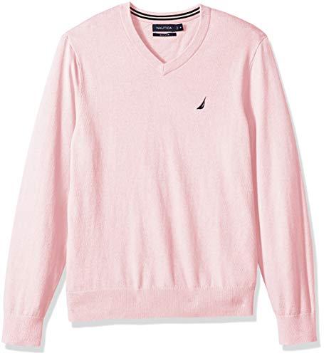 Nautica Men's Long Sleeve Solid Classic V-Neck Sweater, Cradlepink, Large ()