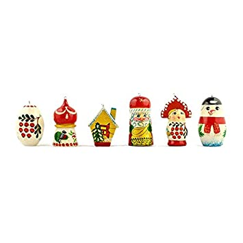 Amazon.com: 6 Mixed Russian Wooden Christmas Ornaments: Home & Kitchen
