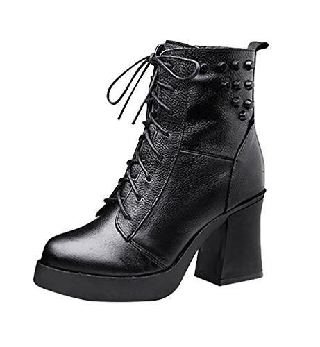 LvRao Mujer zapatos de piel elegante botas de tacon para invierno comodos botines con tacon para femeninos Negro