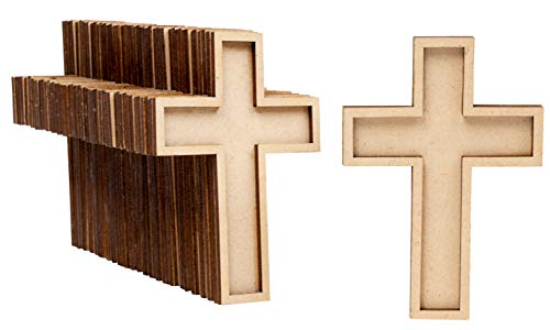 Unfinished Wood Cutout - 50-Pack Wooden Cross, Wood Pieces, Wood Shapes, for Wooden Craft DIY Projects, Sunday School, Church, Home Wall Decoration, 4 x 2.7 x 0.4 Inches for $<!--$24.99-->