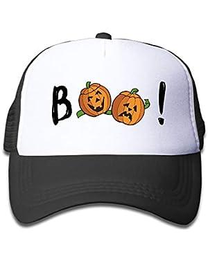Halloween Pumpkin Boo6 On Kids Trucker Hat, Youth Toddler Mesh Hats Baseball Cap