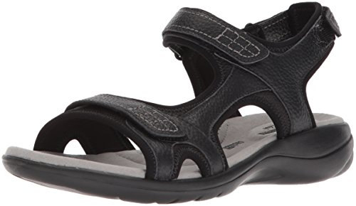 Wide Leather Us 6 Clarks Tumbled Black Sandal Jade Women's Saylie U6wq1aA