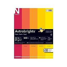 """Astrobrights Color Paper, 8.5"""" x 11"""", 24 lb / 89 gsm, """"Warm"""" 5-Color Assortment, 500 Sheets"""