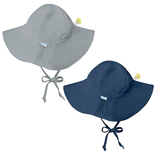 I Play Solid Sun Hat - i play 2 Pack UPF 50+ Sun Protection Brim Baby Sun Hats-0-6 Mths-Grey-Navy Blue