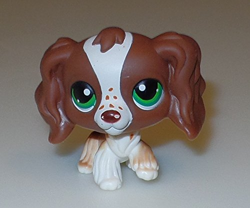 (Springer Cocker Spaniel #156 (Brown/White, Green Eyes,) - Littlest Pet Shop (Retired) Collector Toy - LPS Collectible Replacement Single Figure - Loose (OOP Out of Package &)