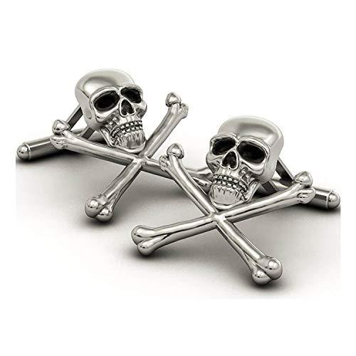 EVBEA Mens Skull Cufflinks Cool Stylish Unique Pirate Skeleton Cross Cufflinks ()