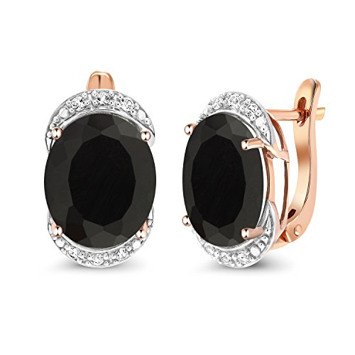 Gem Stone King 8.14 Ct Black Onyx with Diamond Accent 10K Rose Gold Earrings