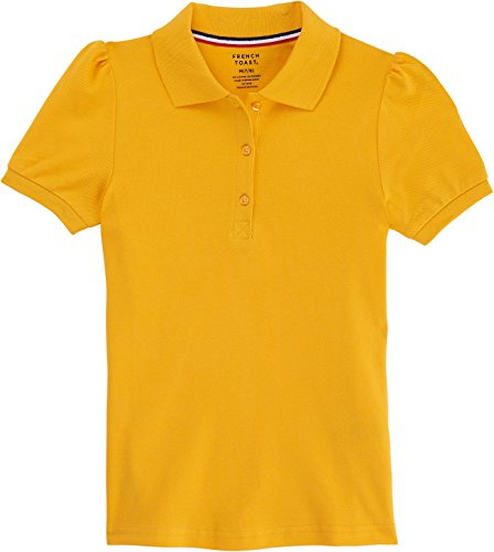 French Toast School Uniform Girls Short Sleeve Stretch Pique Polo Shirt, Gold, Large (10/12) by French Toast