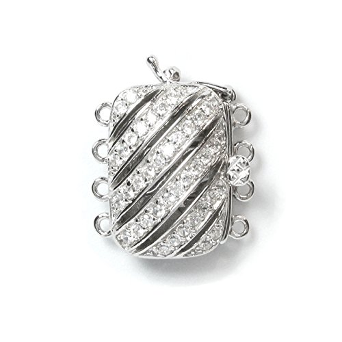Rhodium on 925 Sterling Silver Filigree Rectangular Spiral Flower 4 Strands Micro Pave Clear Cz Crystal Pearl Box Clasp Connector Switch with Safety Lock -