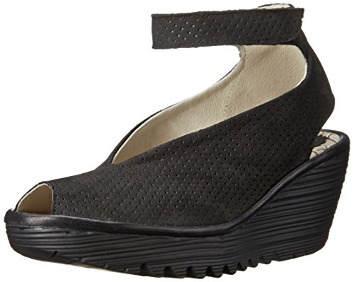 Fly London Women's Yala Perforated Wedge Sandal - Black/B...