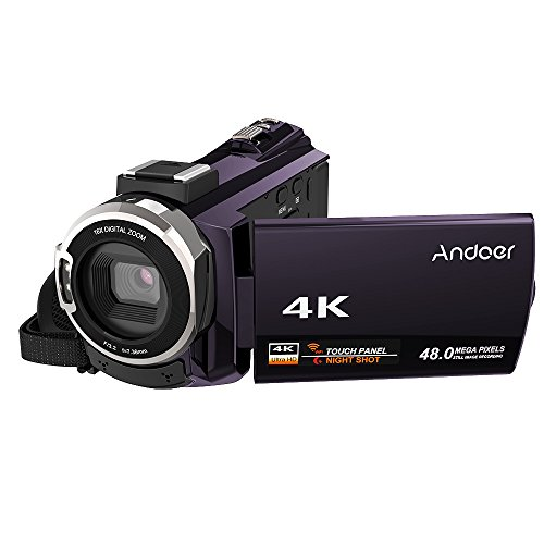 Video Camcorder, Andoer 4K Digital Video Camera 2880 x 2160 48MP HD 3inch Touchscreen Handy Camera with IR Night Sight Support 16X Zoom 128GB Max Storage Valentine's Gift Present (Coffee Purple) by Andoer