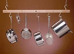 J.K. Adams 36-Inch-by-12-Inch Hardwood Ceiling Mini Bar Pot Rack, Natural