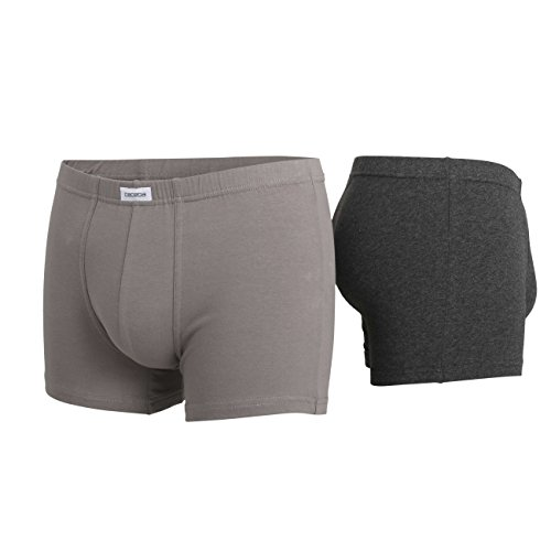 CECEBA Herren Pants, Elastan, Baumwolle, Single Jersey, grau, uni, 3er Pack