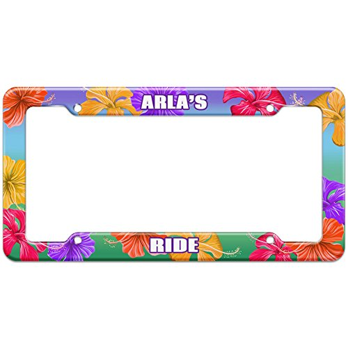 tropical-hibiscus-license-plate-frame-ride-names-female-ap-as-arla