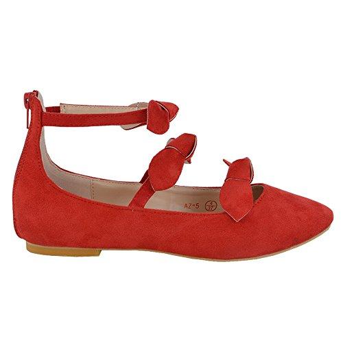 Glam Caviglia Donna Finto Cinturino Ballerina Scarpa Essex Fiocco Scamosciato Sintetico Rosso d4qYEFwA