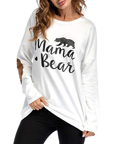 Sundray Women's Mama Bear t Shirt Round NeckTops Letter Print Tunics Villus Patch Blouse White S ()