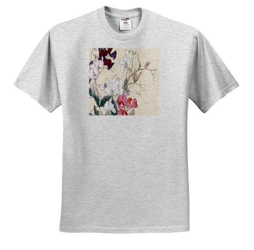 (BLN Japanese Woodblock Flowers by Tanigami Konan - Sweet Peas in Red and White and Deep Red - T-Shirts - Adult Birch-Gray-T-Shirt XL (ts_172951_21))