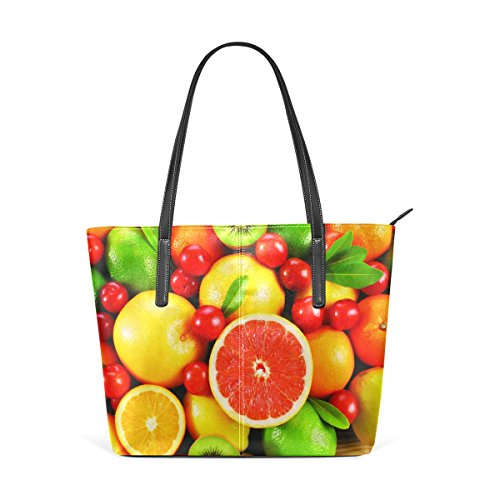 Kiwi Women's Top Handbag TIZORAX Handle PU Oranges Shoulder Leather Totes Purses and Bags Cherry Grapefruit Fashion Tangerines Fruit gq7xfE